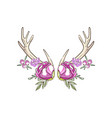 antlers with pink roses and berries hand drawn vector image vector image