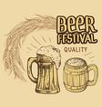 beer barrel hops mug bottle glass vector image vector image