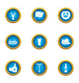beer evening icons set flat style vector image