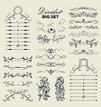 big set decorative flourishes hand drawn dividers vector image