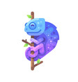 blue and purple chameleon sitting on a tree branch vector image vector image