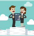 businessman and business woman with calculator vector image