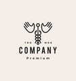 caduceus hand wing hipster vintage logo icon vector image vector image