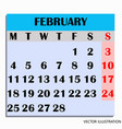 calendar design month february 2019 vector image vector image