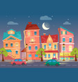 cartoon city street at night street lights vector image vector image