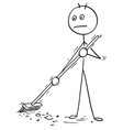 cartoon of man sweeping floor using broom vector image