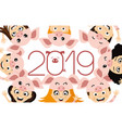 children in costume piglets vector image vector image