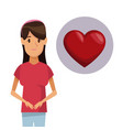 colorful poster half body woman with icon of heart vector image vector image