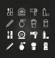cosmetics icons set on chalkboard - cosmetics line vector image