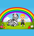 cute boy and zebra at park with rainbow scene vector image vector image