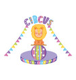 cute lion circus in plastic balloon vector image vector image