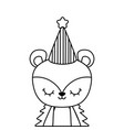 cute porcupine animal with hat party vector image vector image