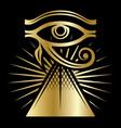 eye horus with rays sun and pyramid vector image