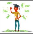 falling money on smiling student in graduate cap vector image vector image