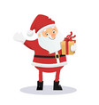 funny santa claus with present vector image