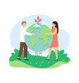 global environmental protection man and woman vector image