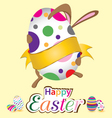Happy Easter bunny with big egg Little gift at vector image vector image