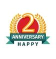 Happy second birthday badge icon vector image