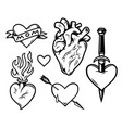 hearts tattoos vintage monochrome composition vector image