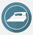 icon steam iron on white circle with a long shadow vector image