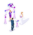 isometrics visiting wedding ceremony bride and vector image vector image