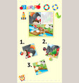 jigsaw puzzle game with kids and animals vector image vector image