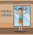 man sports weight training gym workout vector image