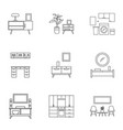 modern furniture icon set outline style vector image vector image