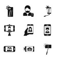 photo yourself icons set simple style vector image