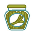 pickled scallion in jar vector image vector image