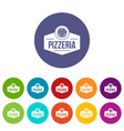 pizza italian icons set color vector image vector image
