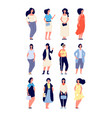 plus size women young overweight lady in casual vector image