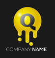 q letter splash logo yellow dots and bubbles vector image vector image