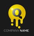 q letter splash logo yellow dots and bubbles vector image