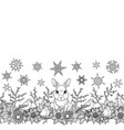 rabbit and birds winter seamless border vector image