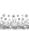 rabbit and birds winter seamless border vector image vector image