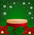 realistic round display podium mockup christmas vector image vector image
