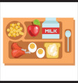 school lunch tray children dinner consist of vector image