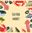 seafood banner - crab fish mussel and shrimp vector image