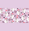 seamless pattern with cute pandas couples in love vector image vector image