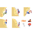 set climbing on mountain men characters flat vector image