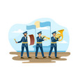 three male soldiers are marching as a music band vector image