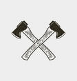 two crossed axes isolated on white background vector image