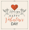 valentine card with angels heart and inscriptions vector image vector image