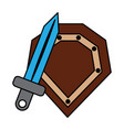 video game shield and sword items vector image vector image