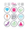 wedding engagement icons rings gift box