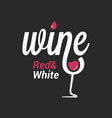 wine sign logo wine glass on black background vector image