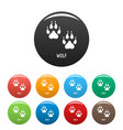 wolf step icons set color vector image vector image