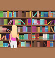 young pretty blond woman chooses a book in the vector image