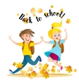 Boy and girl running to school holding hands vector image